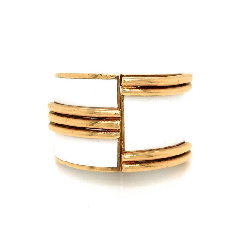 David Webb David Webb 18K Gold Large White Enamel Bombe Ring