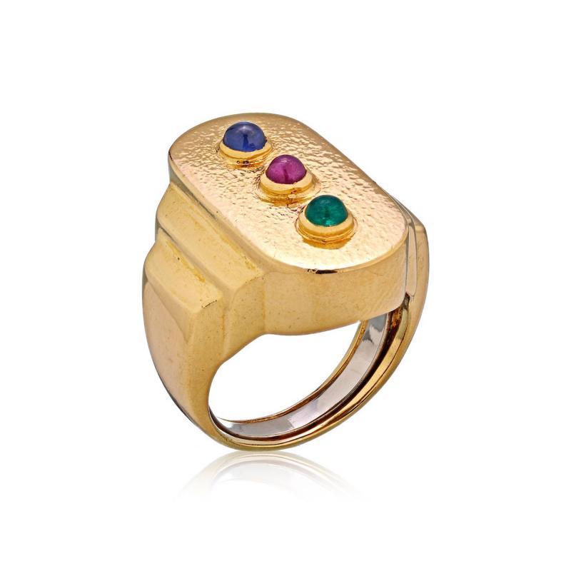 David Webb David Webb 18K Gold Ruby Emerald Sapphire Three Gem Ring
