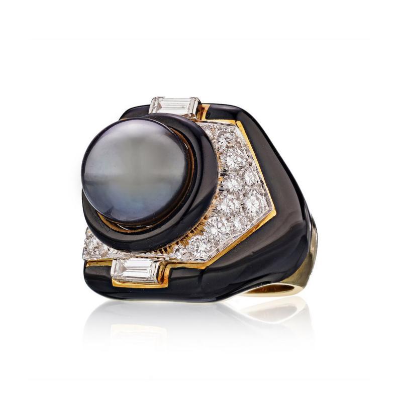 David Webb David Webb 18K Gold Tahitian Cultured Pearl Diamond Black Onyx Ring