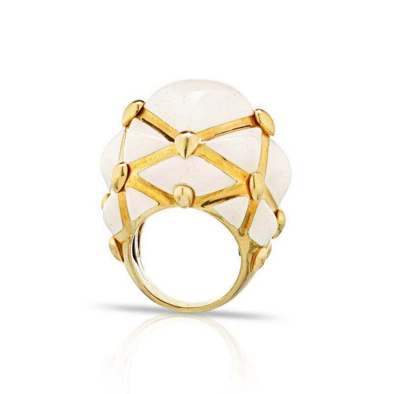 David Webb David Webb 18K Gold White Enamel Dome Ring