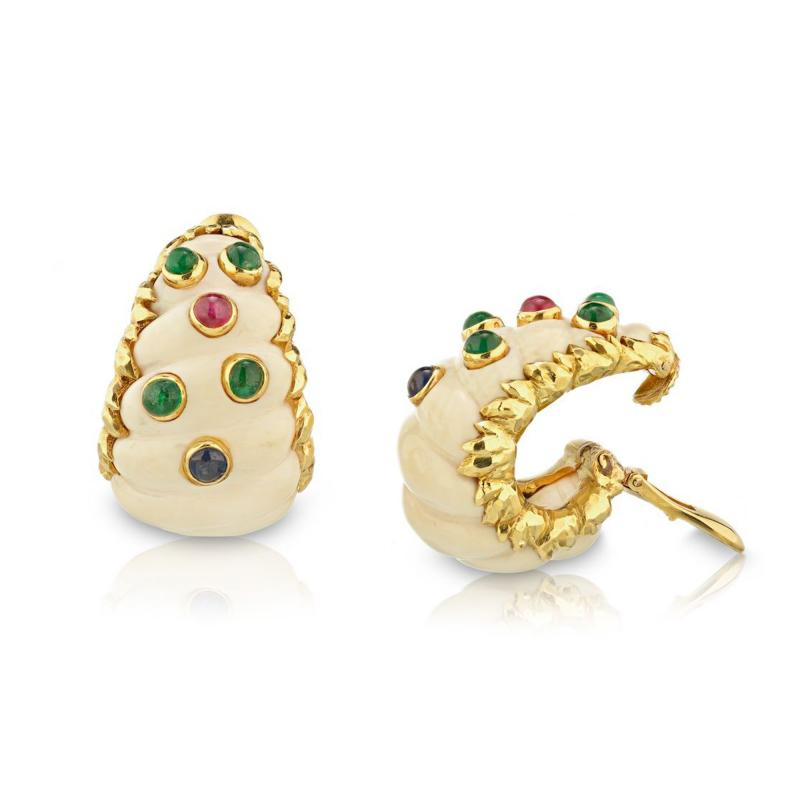 David Webb David Webb 1970s Ivory Sapphires Emeralds Ruby Clip Earrings