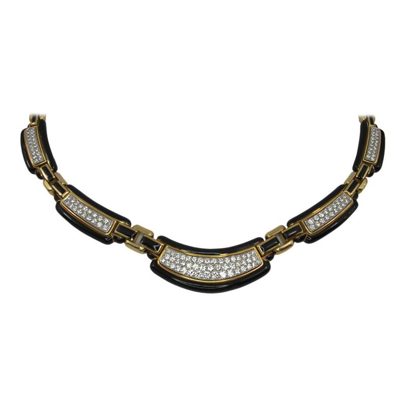 David Webb David Webb Black Enamel Diamonds Gold Necklace
