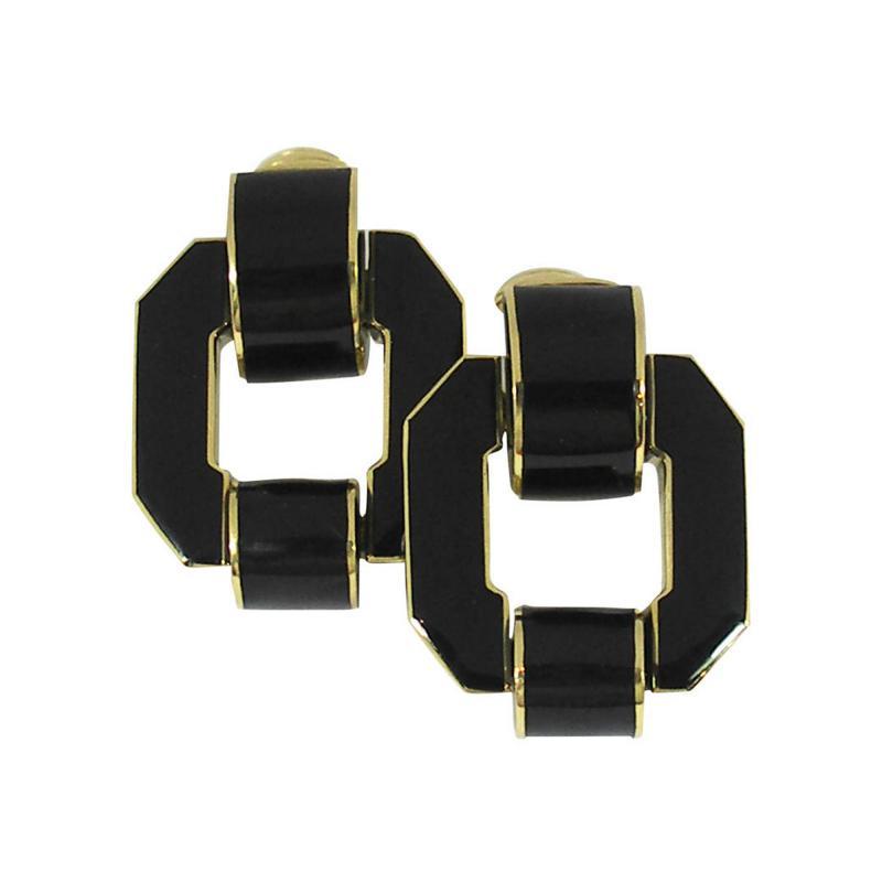 David Webb David Webb Black Enamel Gold Earrings