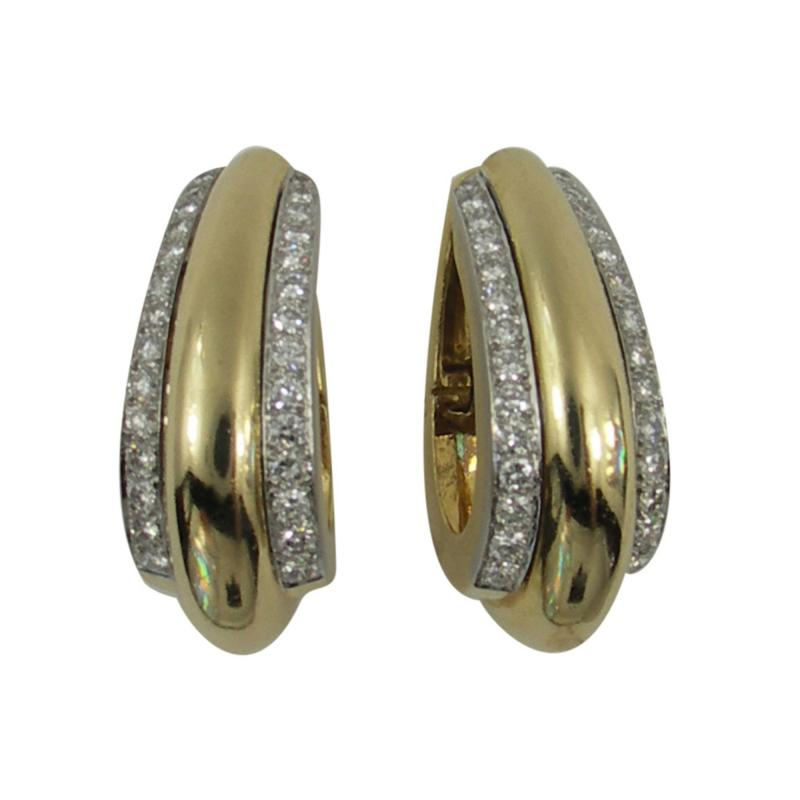 David Webb David Webb Diamond Gold Hoop Earrings