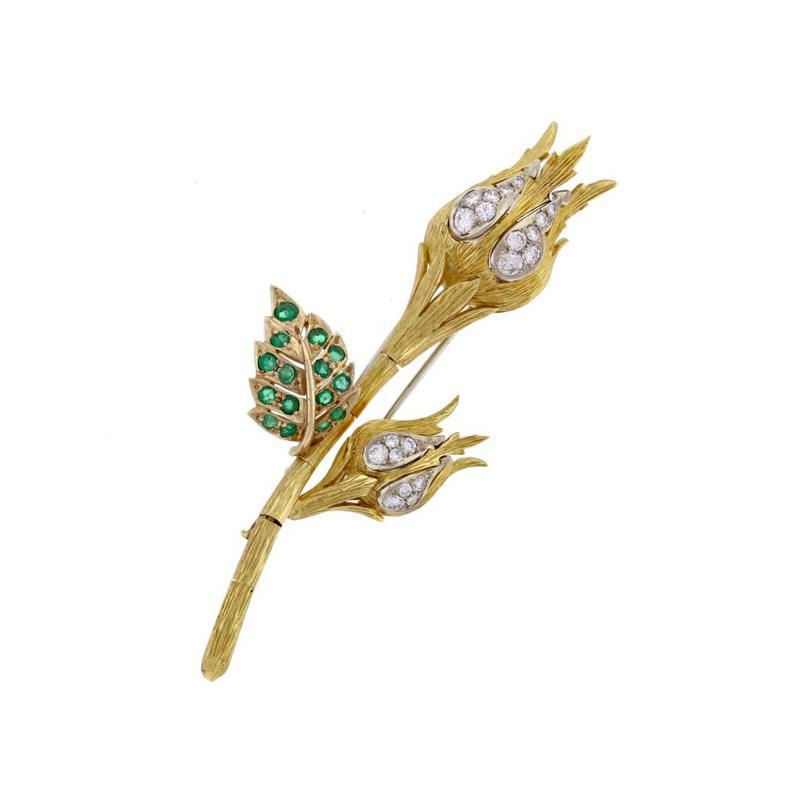 David Webb David Webb Emerald and Diamond Flower Brooch
