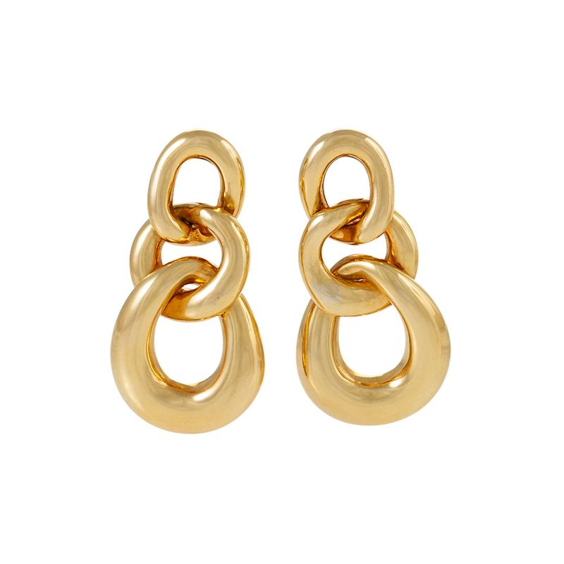 David Webb David Webb Gold Curb Link Door Knocker Earrings