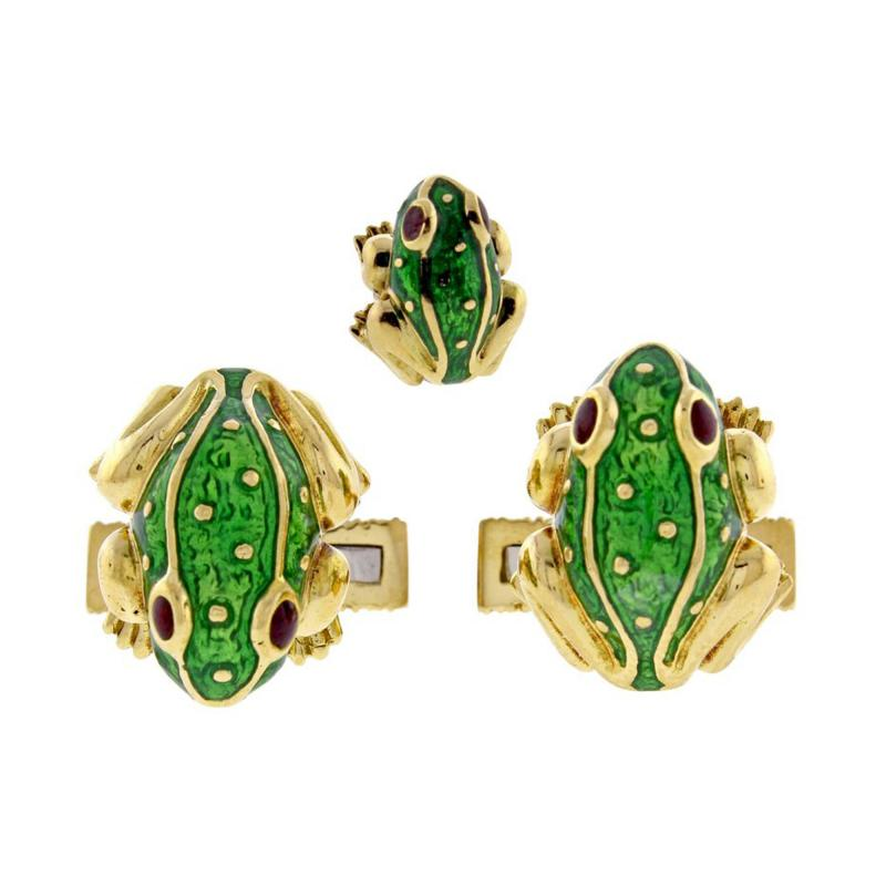 David Webb David Webb Green Enamel Gold Frog Cufflinks