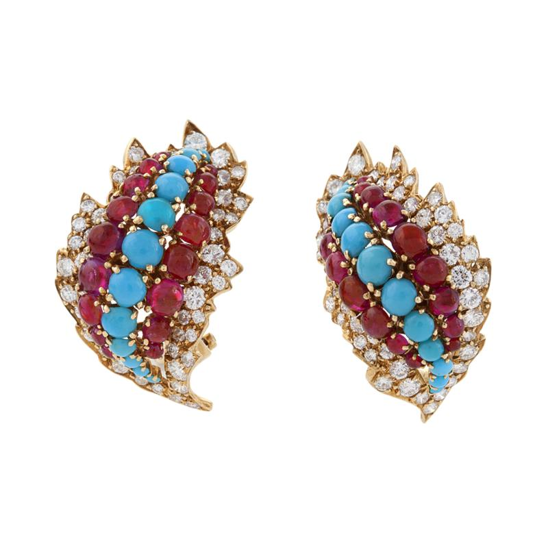 David Webb David Webb Mid 20th Century Diamond Ruby and Turquoise Earrings