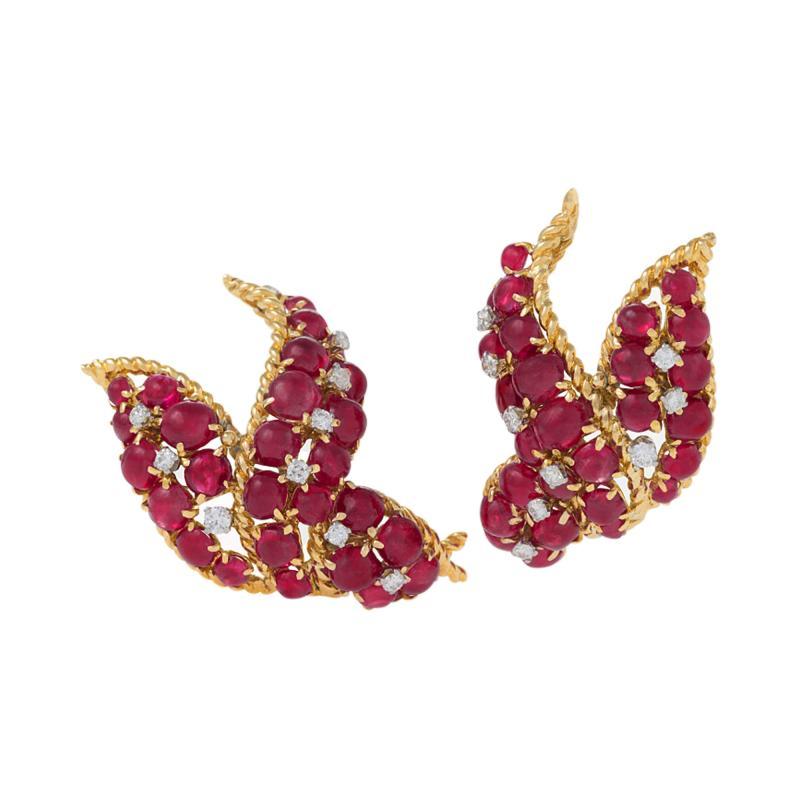 David Webb David Webb Mid 20th Century Ruby Diamond and Gold Earrings