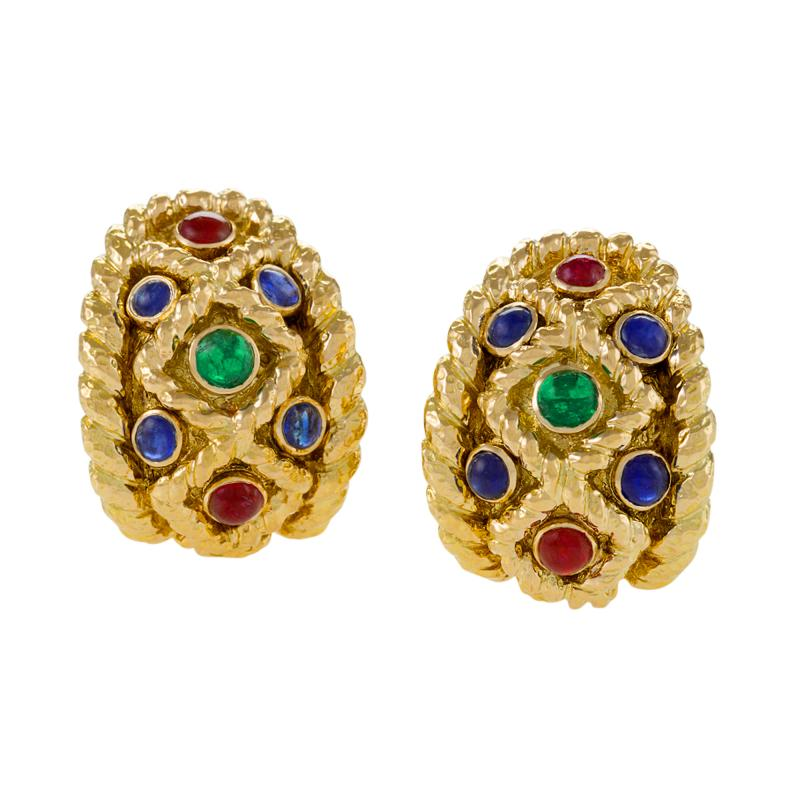 David Webb David Webb Mid 20th Century Sapphire Ruby Emerald and Gold Earrings