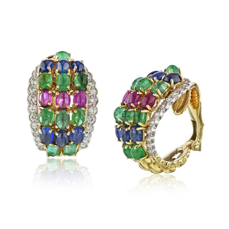 David Webb David Webb Multicolor Emeralds Ruby Sapphire Diamonds Earrings