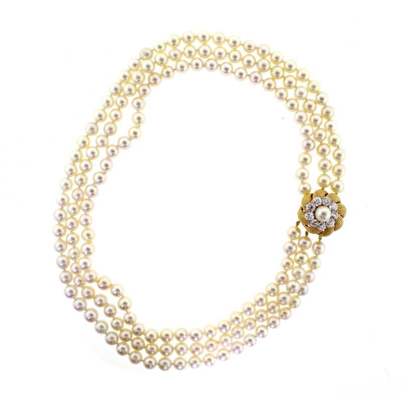 David Webb David Webb Pearl and Diamond Necklace