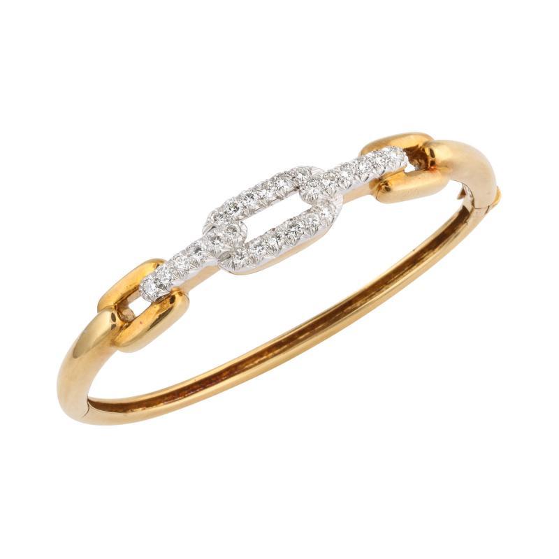 David Webb David Webb Vintage Gold and Diamond Bangle Bracelet