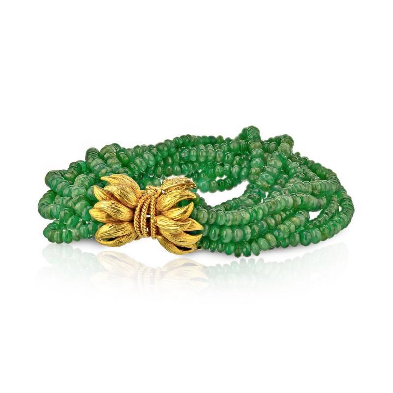 David Webb David Webb Vintage Torsade Green Emeralds Bead Bracelet