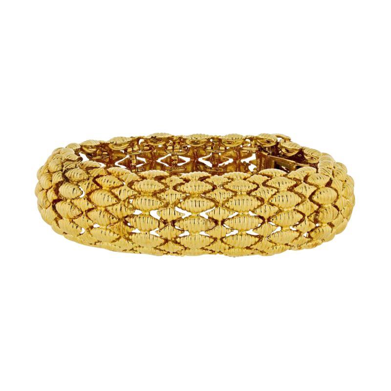 David Webb FLEXIBLE PLATINUM 18K YELLOW GOLD TEXTURED NAVETTE MULTI GOLD LINK BRACELET