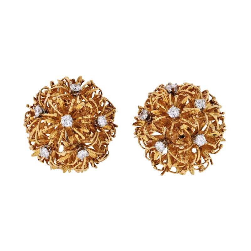 David Webb PLATINUM 18K YELLOW GOLD 1 25 CARAT DIAMOND FLOWER BURST CLIP EARRINGS