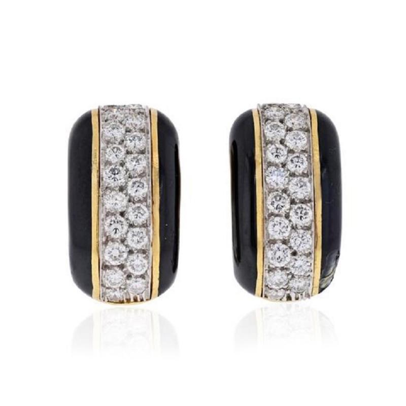 David Webb PLATINUM 18K YELLOW GOLD 2 00 CARAT DIAMOND HUGGIE BLACK ENAMEL EARRINGS