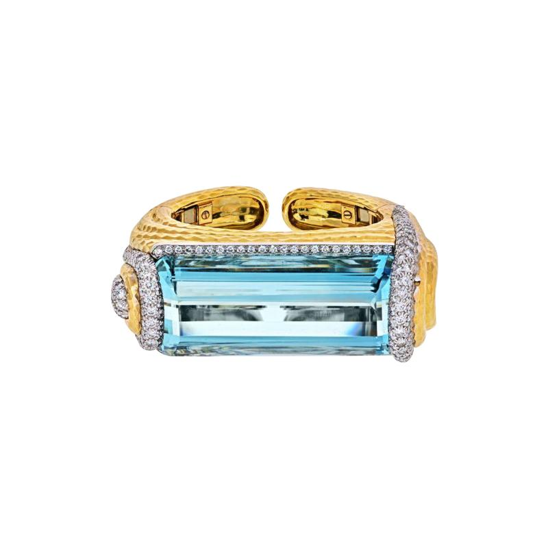 David Webb PLATINUM 18K YELLOW GOLD AQUAMARINE DIAMONDS HINGED CUFF BANGLE BRACELET