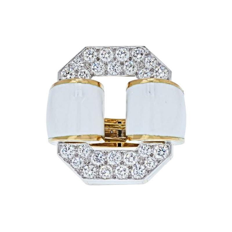 David Webb PLATINUM 18K YELLOW GOLD SIGNATURE TIRE IN WHITE ENAMEL DIAMOND RING