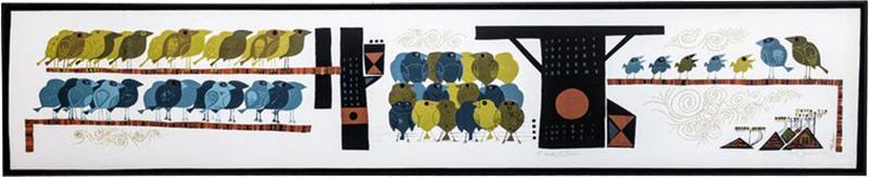 David Weidman Large 1960s Family of Birds Signed Handcrafted Silkscreen by David Weidman
