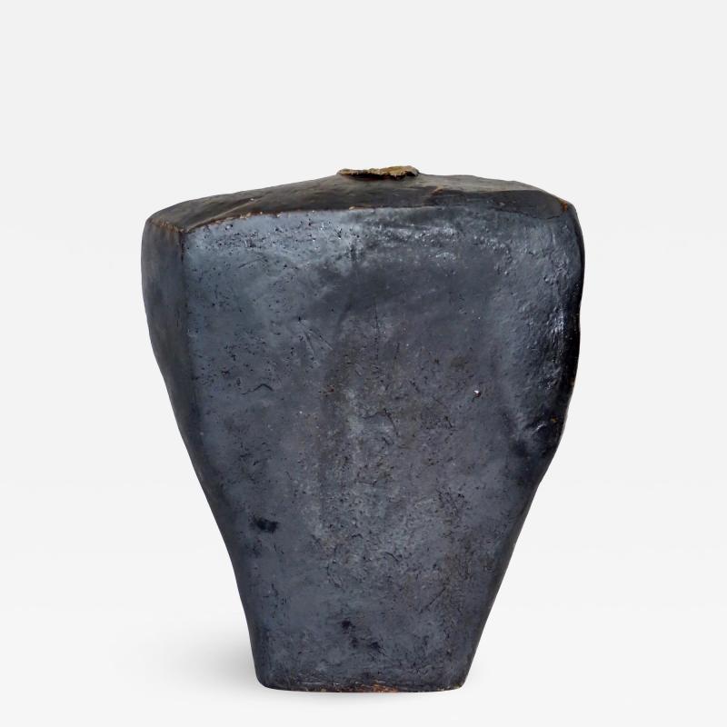 David Whitehead David Whitehead Ceramic Artist Black Wood Fired Ceramic Vase La Borne France