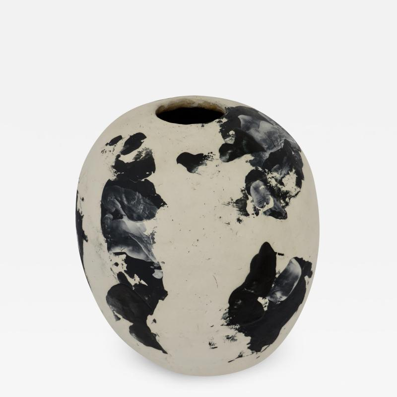 David Whitehead David Whitehead Ceramic Artist White and Black Wood Fired Ceramic Vase La Borne