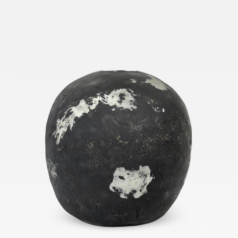 David Whitehead David Whitehead Ceramic Artist White and Black Wood Fired Ceramic Vase La Borne