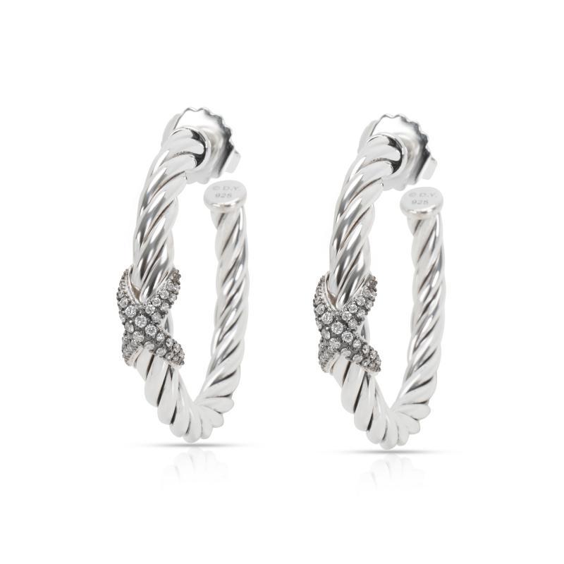 David Yurman Cable Diamond X Hoop Earrings in Sterling Silver 0 33 CTW