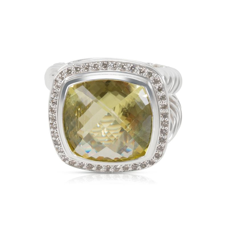 David Yurman David Yurman Albion Ring with Prasiolite and Diamonds 14mm 0 45 ctw
