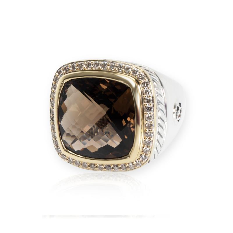 David Yurman David Yurman Albion Smokey Topaz Diamond Ring in 18K Gold Silver 0 44CTW