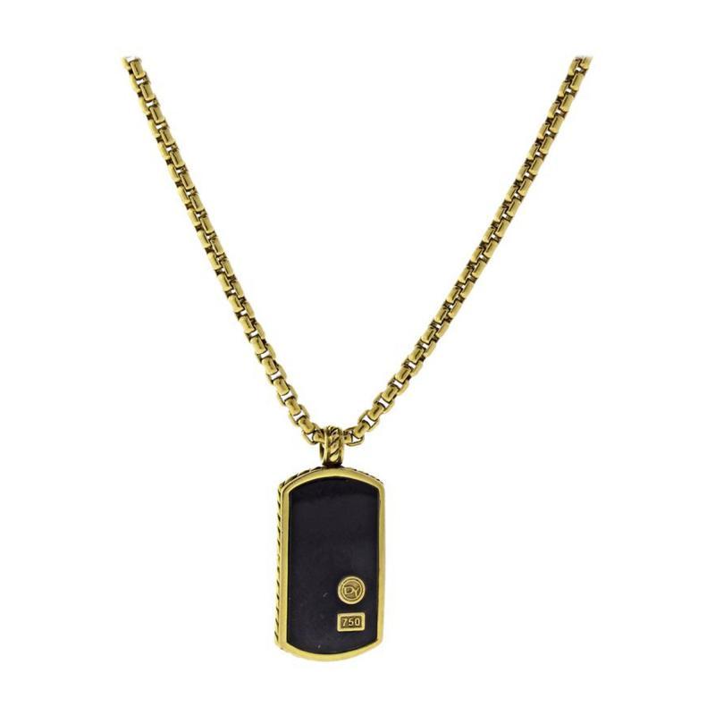 David Yurman David Yurman Black Onyx Exotics Dog Tag Necklace