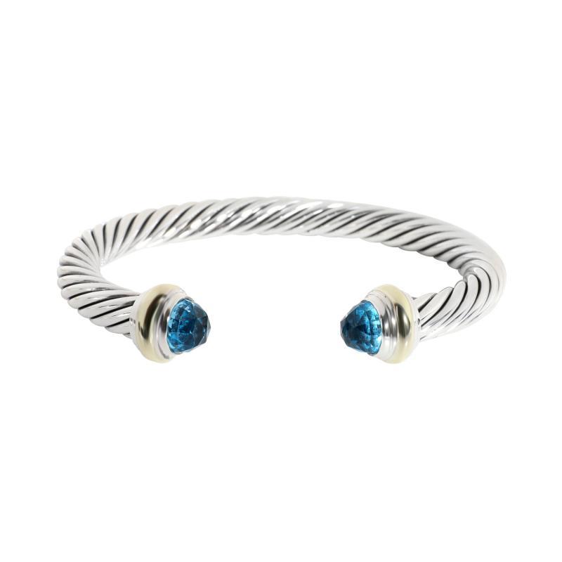 David Yurman David Yurman Cable Bangle with Blue Topaz in 14K Gold Sterling Silver Blue