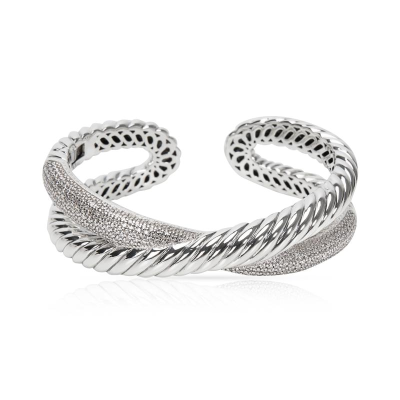 David Yurman David Yurman Diamond Crossover X Cuff in Sterling Silver 1 50 CTW