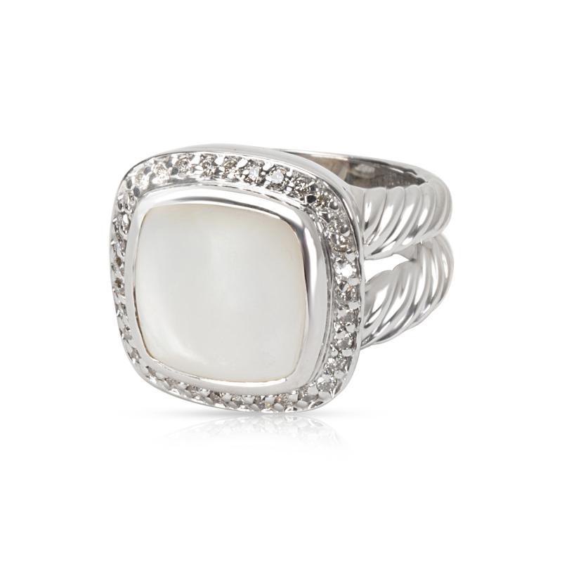 David Yurman David Yurman Diamond Mother of Pearl Albion Ring in Sterling Silver 0 25 ctw