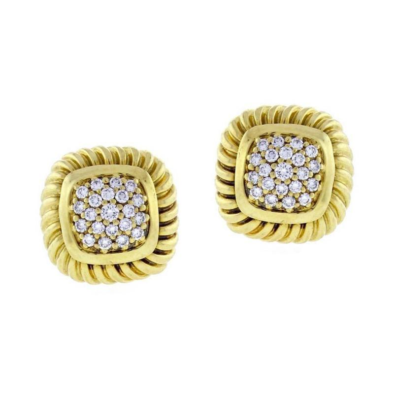 David Yurman David Yurman Fluted Pav Diamond Alboin Earrings
