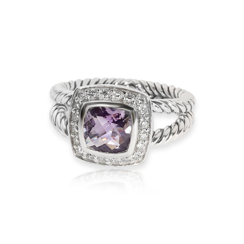 David Yurman David Yurman Petite Albion Amethyst Diamond Ring in Sterling Silver 0 17 ctw