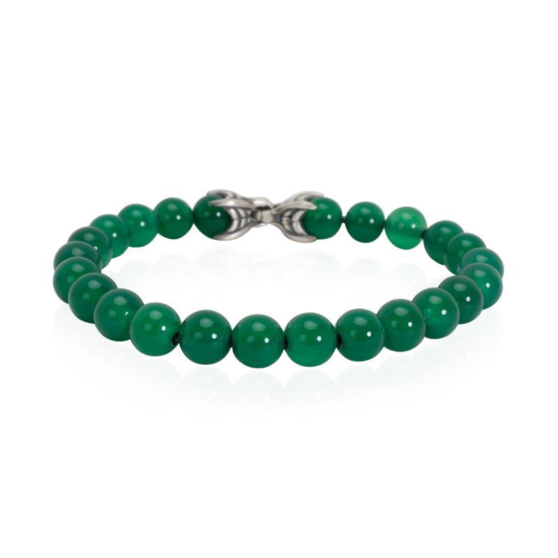 David Yurman David Yurman Spiritual Beads Green Onyx Mens Bracelet in Sterling Silver