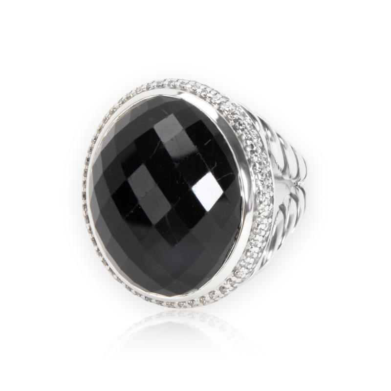 David Yurman Diamond Halo Oval Onyx Ring in Sterling Silver 0 55 CTW
