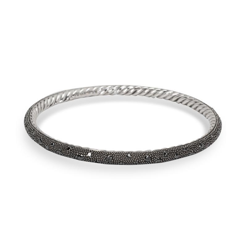 David Yurman Midnight Melange Bangle with Black Diamonds in Sterling Silver