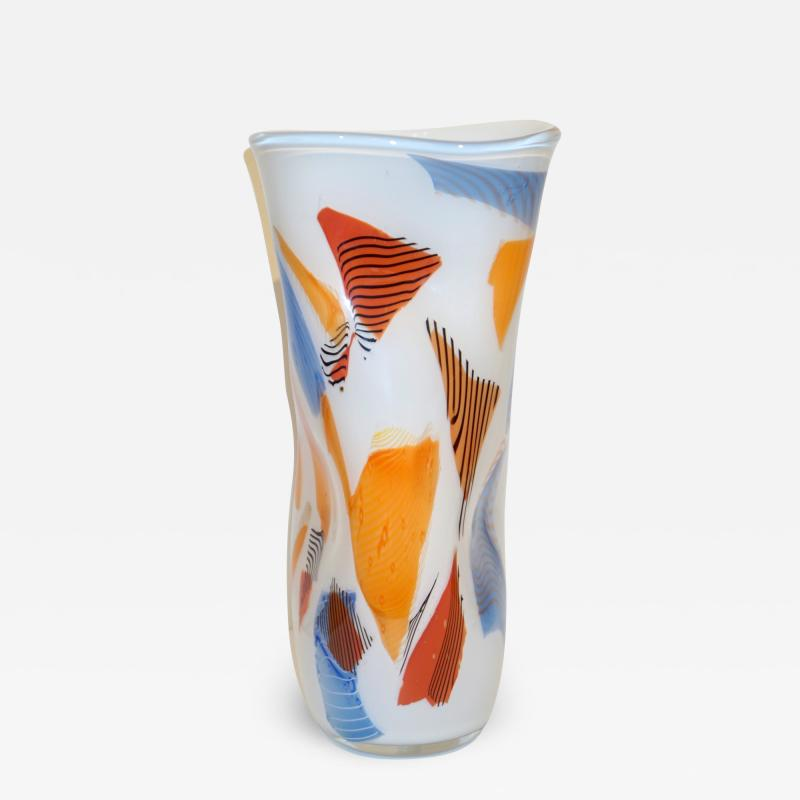 Davide Dona Davide Don Italian Large Free Form White Orange Red Blue Murano Art Glass Vase