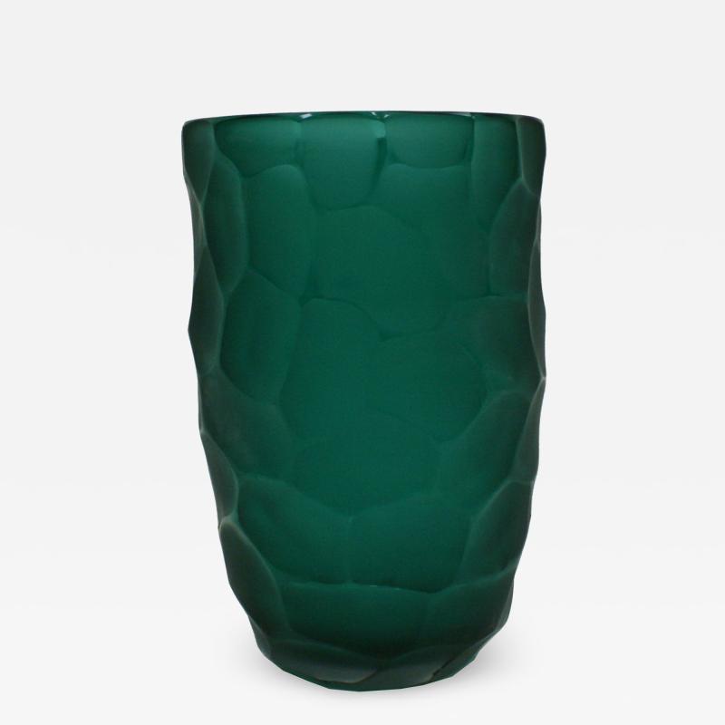 Davide Dona Davide Dona Signed Sculptural Faceted Green Murano Glass Vase Italy 70s
