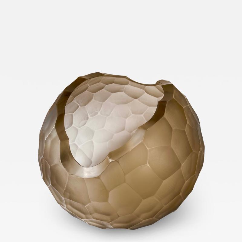 Davide Dona Late 20th Century Sculptural Green Murano Glass Bowl