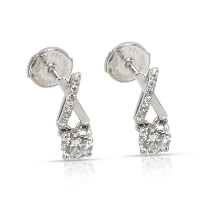 DeBeers Promise Diamond Stud Earrings in 18K White Gold 0 68 CTW