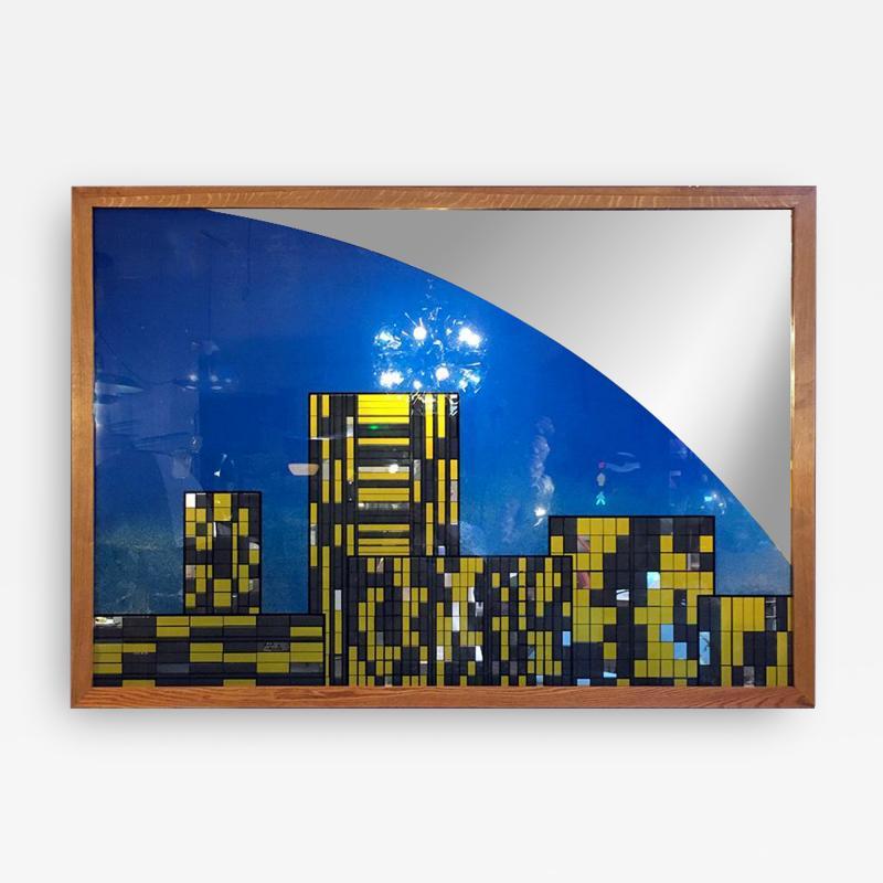 Decorative big mirror representing Manhattan 1980s