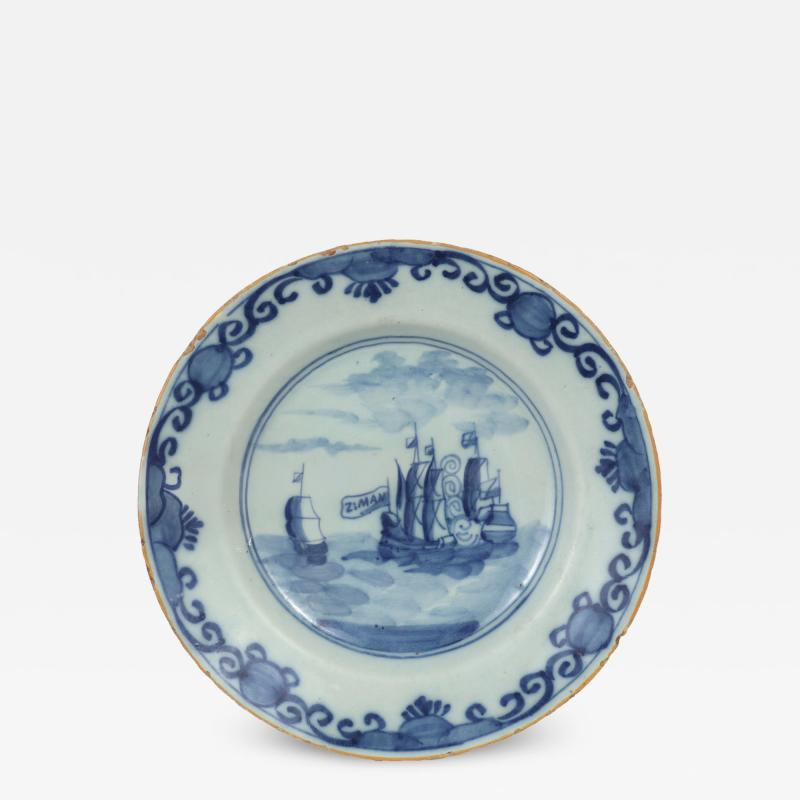 Delft Plate Commerating the Battle of Dogger Bank c 1781