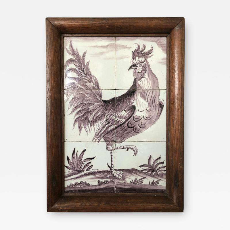 Delft Tile Picture of Rooster