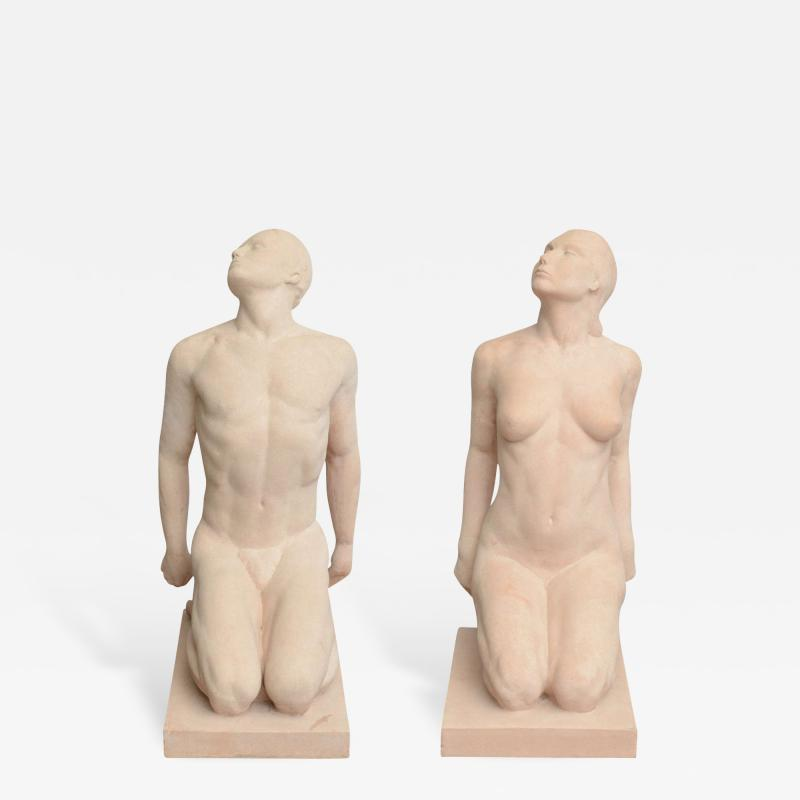 Demetre Haralamb Chiparus Matched Pair of Art Deco Terracotta Sculpture or Statues by Demetre Chiparus