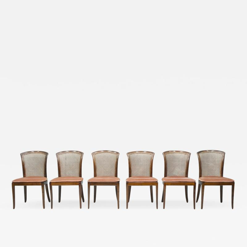 Deutsche WK M bel Set of 6 Elegant Chairs in Mahogany and Cane WK Germany 1970s