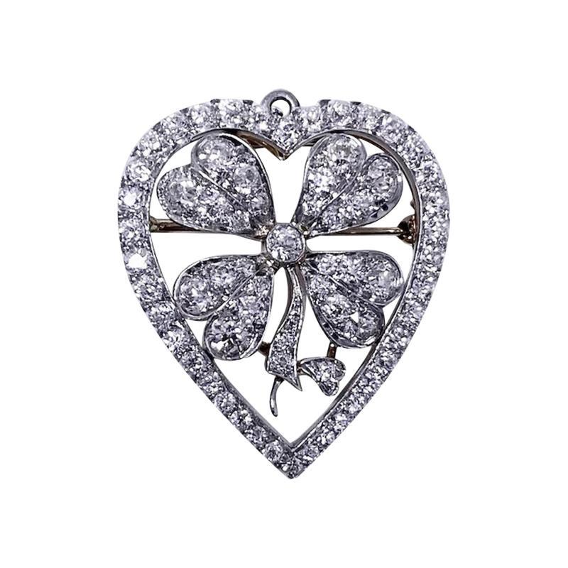 Diamond Clover Heart Brooch Pendant Platinum and 18K C 1930