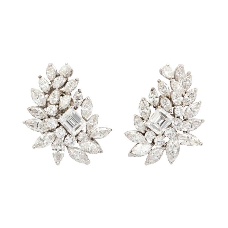 Diamond Cluster Earrings in Platinum
